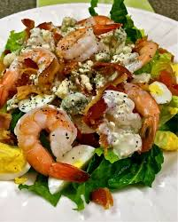 shrimp cobb salad with blue cheese dressing grits and pinecones