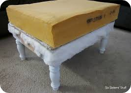 How To Reupholster A Leather Ottoman Diy Tufted Ottoman Fabric Recover Tutorial Six Stuff