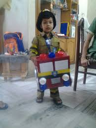 my son dressed as fireman for a fancy dress competition his