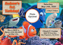 Twins 1st Birthday Invitation Cards Finding Dory Birthday Invitations Kustom Kreations