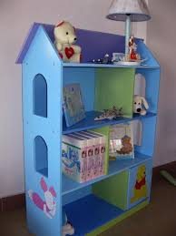 creative wooden dollhouse bookshelves kids in blue edition