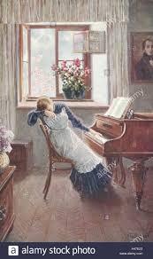 nostalgia painting woman piano sitting sad unhappy postcard