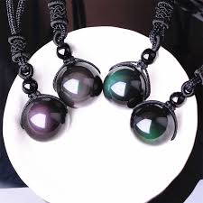 love crystal necklace images Black obsidian rainbow eye beads ball natural stone necklace jpg