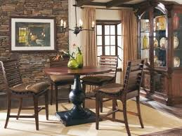 buy whiskey oak counter height dining table with aged copper metal
