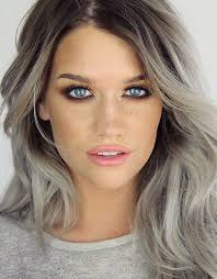 black low lights for grey picture of grey hair with black lowlights and purple and turquoise