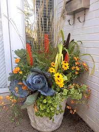 Floral Vases And Containers Great Fall Flower Pot Mixing Grasses Perennials And Fall Flowers
