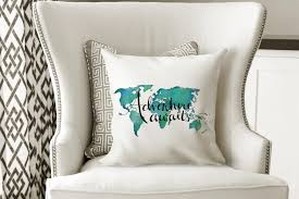 Travel Decor Throw Pillow Quotes Adventure Awaits Travel Decor Travel Gifts