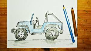 jeep art how to draw a jeep wrangler youtube