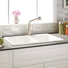 faucet for kitchen sink 33 elgin 60 40 white bowl cast iron drop in kitchen sink