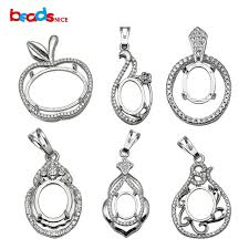 necklace pendant setting images Beadsnice jewelry setting sterling silver pendant semi mount women jpg