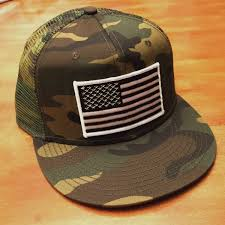 black and white american flag camo trucker hat snapback flat