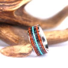 mens wooden wedding bands mens wood wedding bands antler turquoise and wood titanium wedding