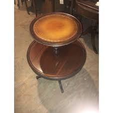 leather top side table vintage leather top 2 tier dumbwaiter round side table chairish