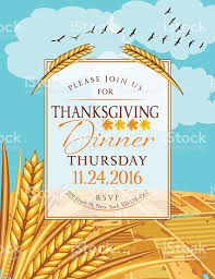 fall farm with thanksgiving dinner invitation template stock