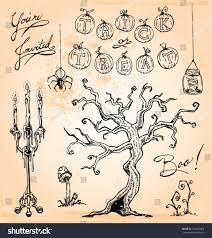 spooky vintage halloween hand drawn vintage halloween vector set stock vector 155427863