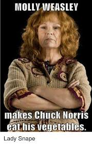 Meme Lady - molly weaslev makes chuck norris eat his vegetables lady snape