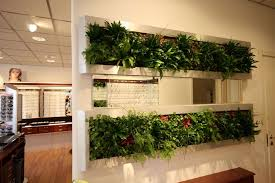 interior vertical planted garden wall partition combine brown