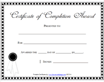 templates for award certificate printable printable certificate of completion awards certificates templates