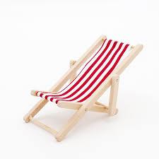 Leopard Chaise Lounge Amazon Com Odoria 1 12 Miniature Foldable Beach Chair Red Stripe