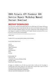 2003 polaris atv predator 500 service repair workshop manual instant u2026