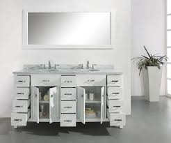 Traditional Bathroom Vanity Units by Abodo 72 Inch Transitional Bathroom Vanity White Finish Unit