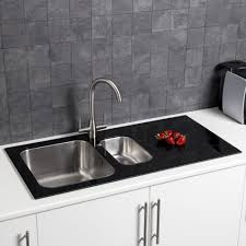 Sauber  Bowl Kitchen Sink With White Glass Drainer - Black glass kitchen sink