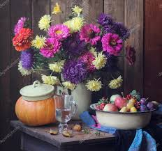 flowers and fruits big still with autumn flowers and fruits stock photo