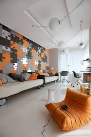 blue and orange room 32 stylish geometric décor ideas for your living room digsdigs