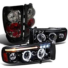 halo headlights for dodge ram 1500 amazon com dodge ram glossy black led halo projector headlights
