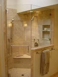bathroom corner glass shower enclosure with steel door handle and