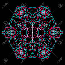 vector pentagon abstract sacred geometry decoration sign anaglif