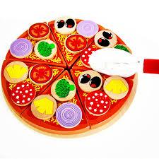 jeux de fille cuisine pizza 27 pcs en bois pizza enfants cuisine jouets alimentaire simulation