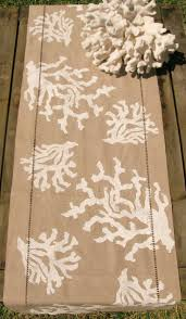 white coral home decor natural linen table runner with white coral beach living