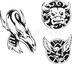 animal tattoo designs stock vector colourbox