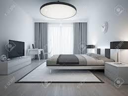 Teppich Boden Schlafzimmer Elegantes Schlafzimmer Zeitgenössischen Stil Monochrome Innenraum