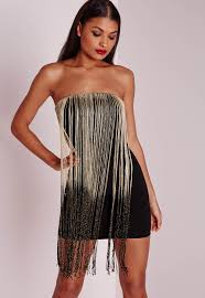 black and gold dress fringed strapless bodycon dress black gold missguided
