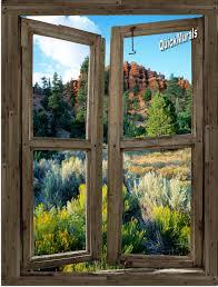 desert cabin window peel stick 1 piece canvas wall mural