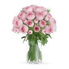 3d model pink roses in glass vase cgtrader