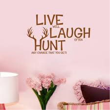 Quotes About Home Decor Retail Live Laugh Hunt Deer Wall Decals Quotes Pvc Removable Art