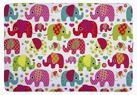 Kids Carpets Floor Mat Colorful Seamless Retro Elephant Kids Print Non Slip