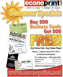 500 Business Cards Summer Specials Buy 500 Business Cards Get 500 Free Promotion