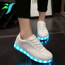 White Luminous Man Shoes Led Light Up Shoes Sole For Adults Glowing