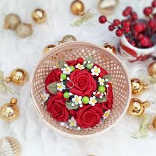 decoration flowers red rose flowers bouquet for home wedding decoration handcrafted