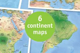 Seven Continents Map Continents Vector World Map Objects Creative Market