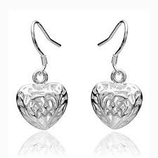 heart shaped earrings 925 silver plated hollow heart shaped earrings women jewelry us