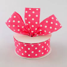 polka dot ribbon 1 5 white polka dot ribbon hot pink 10 yards rg100011