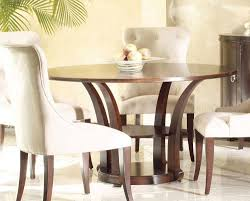 White Leather Dining Room Chair by Decoration Ideas Classy Round Dark Brown Wooden Dining Table With
