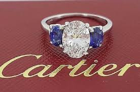 cartier rings ebay images Cartier 3 31 ct platinum oval diamond sapphire engagement ring 3 jpg