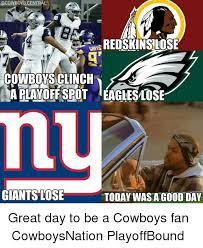 Giants Cowboys Meme - acowboyscentral redskins lose cowboy sclinch aplayoffspot eagleslose