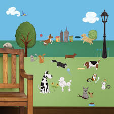 dog and cat wall stickers city park theme wall decals cat and dog wall sticker kit